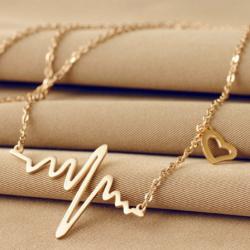 Goudkleurige hartslag ketting