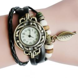 Horloge / Armband Retro Quartz van leer in het Zwart
