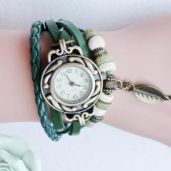 Retro Quartz Horloge / Armband van leer in het Groen