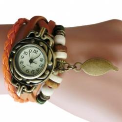 Armband Horloge Retro Quartz van leer in het Oranje