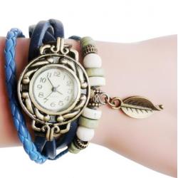 Horloge / Armband Retro Quartz van leer in het Blauw