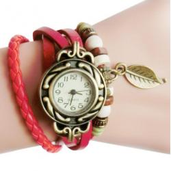 Armband Horloge Retro Quartz van leer in het Rood